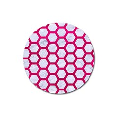 Hexagon2 White Marble & Pink Leather (r) Magnet 3  (round)