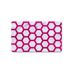 Hexagon2 White Marble & Pink Leather (r) Magnet (name Card) by trendistuff