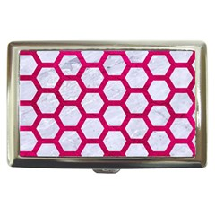 Hexagon2 White Marble & Pink Leather (r) Cigarette Money Cases
