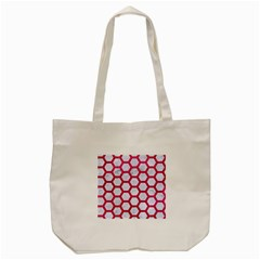 Hexagon2 White Marble & Pink Leather (r) Tote Bag (cream)