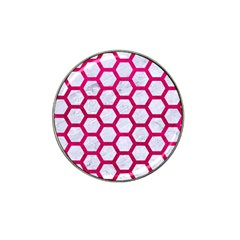Hexagon2 White Marble & Pink Leather (r) Hat Clip Ball Marker