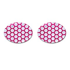 Hexagon2 White Marble & Pink Leather (r) Cufflinks (oval) by trendistuff
