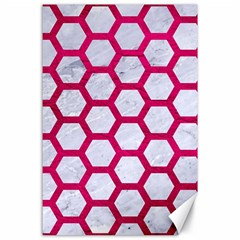 Hexagon2 White Marble & Pink Leather (r) Canvas 24  X 36