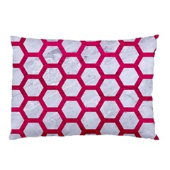 Hexagon2 White Marble & Pink Leather (r) Pillow Case