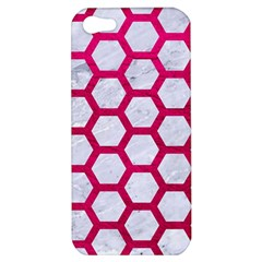 Hexagon2 White Marble & Pink Leather (r) Apple Iphone 5 Hardshell Case by trendistuff