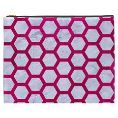 Hexagon2 White Marble & Pink Leather (r) Cosmetic Bag (xxxl)