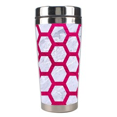 Hexagon2 White Marble & Pink Leather (r) Stainless Steel Travel Tumblers