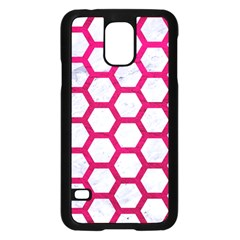Hexagon2 White Marble & Pink Leather (r) Samsung Galaxy S5 Case (black)