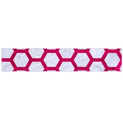 Hexagon2 White Marble & Pink Leather (r) Large Flano Scarf