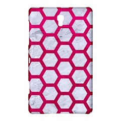 Hexagon2 White Marble & Pink Leather (r) Samsung Galaxy Tab S (8 4 ) Hardshell Case