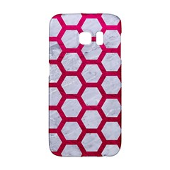 Hexagon2 White Marble & Pink Leather (r) Galaxy S6 Edge