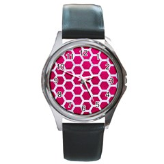 Hexagon2 White Marble & Pink Leather Round Metal Watch
