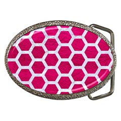 Hexagon2 White Marble & Pink Leather Belt Buckles