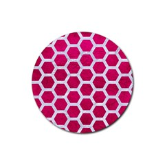 Hexagon2 White Marble & Pink Leather Rubber Coaster (round)  by trendistuff