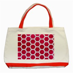 Hexagon2 White Marble & Pink Leather Classic Tote Bag (red) by trendistuff