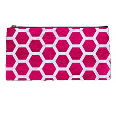 Hexagon2 White Marble & Pink Leather Pencil Cases