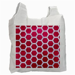 Hexagon2 White Marble & Pink Leather Recycle Bag (one Side)