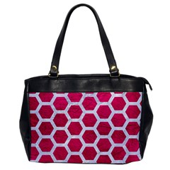 Hexagon2 White Marble & Pink Leather Office Handbags