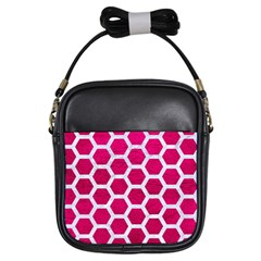 Hexagon2 White Marble & Pink Leather Girls Sling Bags