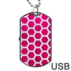 Hexagon2 White Marble & Pink Leather Dog Tag Usb Flash (one Side)