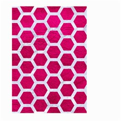 Hexagon2 White Marble & Pink Leather Large Garden Flag (two Sides) by trendistuff