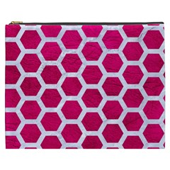 Hexagon2 White Marble & Pink Leather Cosmetic Bag (xxxl)