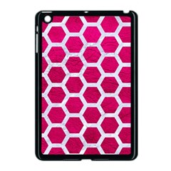 Hexagon2 White Marble & Pink Leather Apple Ipad Mini Case (black) by trendistuff