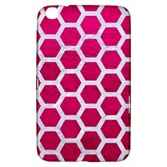 Hexagon2 White Marble & Pink Leather Samsung Galaxy Tab 3 (8 ) T3100 Hardshell Case