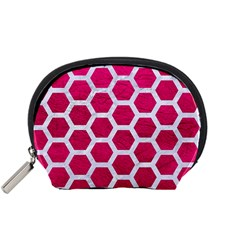 Hexagon2 White Marble & Pink Leather Accessory Pouches (small)  by trendistuff