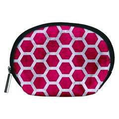 Hexagon2 White Marble & Pink Leather Accessory Pouches (medium)  by trendistuff