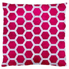 Hexagon2 White Marble & Pink Leather Standard Flano Cushion Case (one Side) by trendistuff