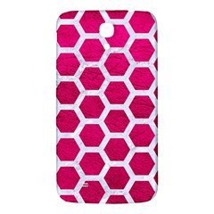 Hexagon2 White Marble & Pink Leather Samsung Galaxy Mega I9200 Hardshell Back Case
