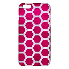 Hexagon2 White Marble & Pink Leather Iphone 6 Plus/6s Plus Tpu Case
