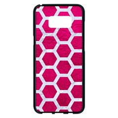 Hexagon2 White Marble & Pink Leather Samsung Galaxy S8 Plus Black Seamless Case