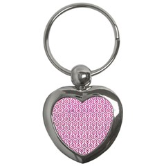 Hexagon1 White Marble & Pink Leather (r) Key Chains (heart)