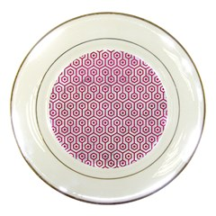 Hexagon1 White Marble & Pink Leather (r) Porcelain Plates