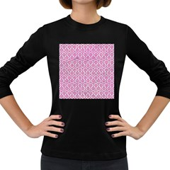 Hexagon1 White Marble & Pink Leather (r) Women s Long Sleeve Dark T Shirts
