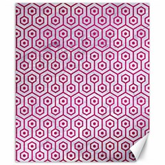 Hexagon1 White Marble & Pink Leather (r) Canvas 8  X 10