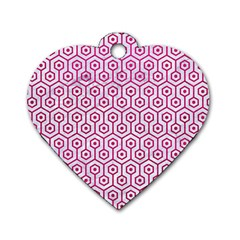 Hexagon1 White Marble & Pink Leather (r) Dog Tag Heart (one Side) by trendistuff