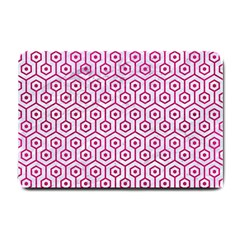 Hexagon1 White Marble & Pink Leather (r) Small Doormat