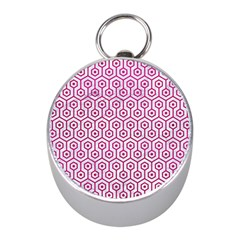 Hexagon1 White Marble & Pink Leather (r) Mini Silver Compasses