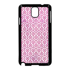 Hexagon1 White Marble & Pink Leather (r) Samsung Galaxy Note 3 Neo Hardshell Case (black)
