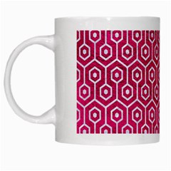 Hexagon1 White Marble & Pink Leather White Mugs