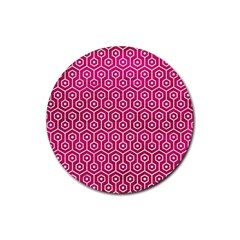 Hexagon1 White Marble & Pink Leather Rubber Coaster (round)