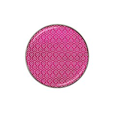 Hexagon1 White Marble & Pink Leather Hat Clip Ball Marker (4 Pack)