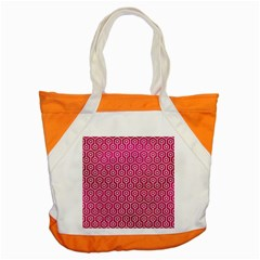 Hexagon1 White Marble & Pink Leather Accent Tote Bag