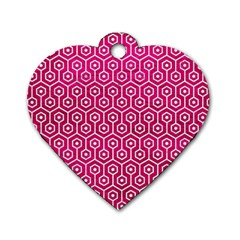 Hexagon1 White Marble & Pink Leather Dog Tag Heart (one Side)