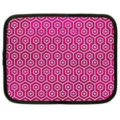 Hexagon1 White Marble & Pink Leather Netbook Case (large)