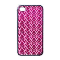 Hexagon1 White Marble & Pink Leather Apple Iphone 4 Case (black) by trendistuff
