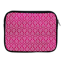 Hexagon1 White Marble & Pink Leather Apple Ipad 2/3/4 Zipper Cases